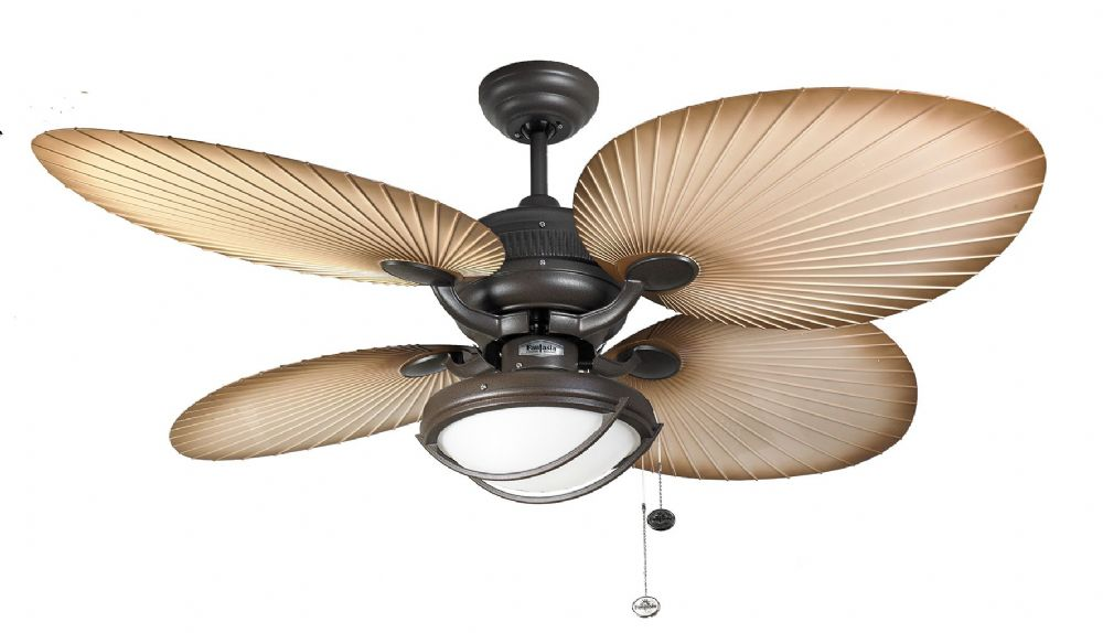 "Fantasia Palm 52"" Chocolate Brown Acrylic Blade Ceiling Fan +  Light 114871"